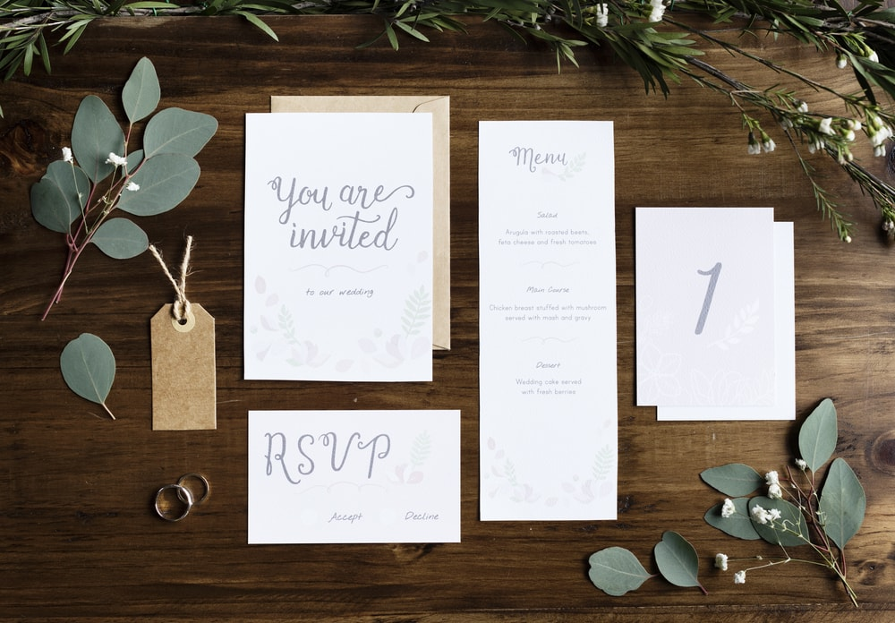 Wedding cards examples suitable for foil stamped invitation folios and boxes