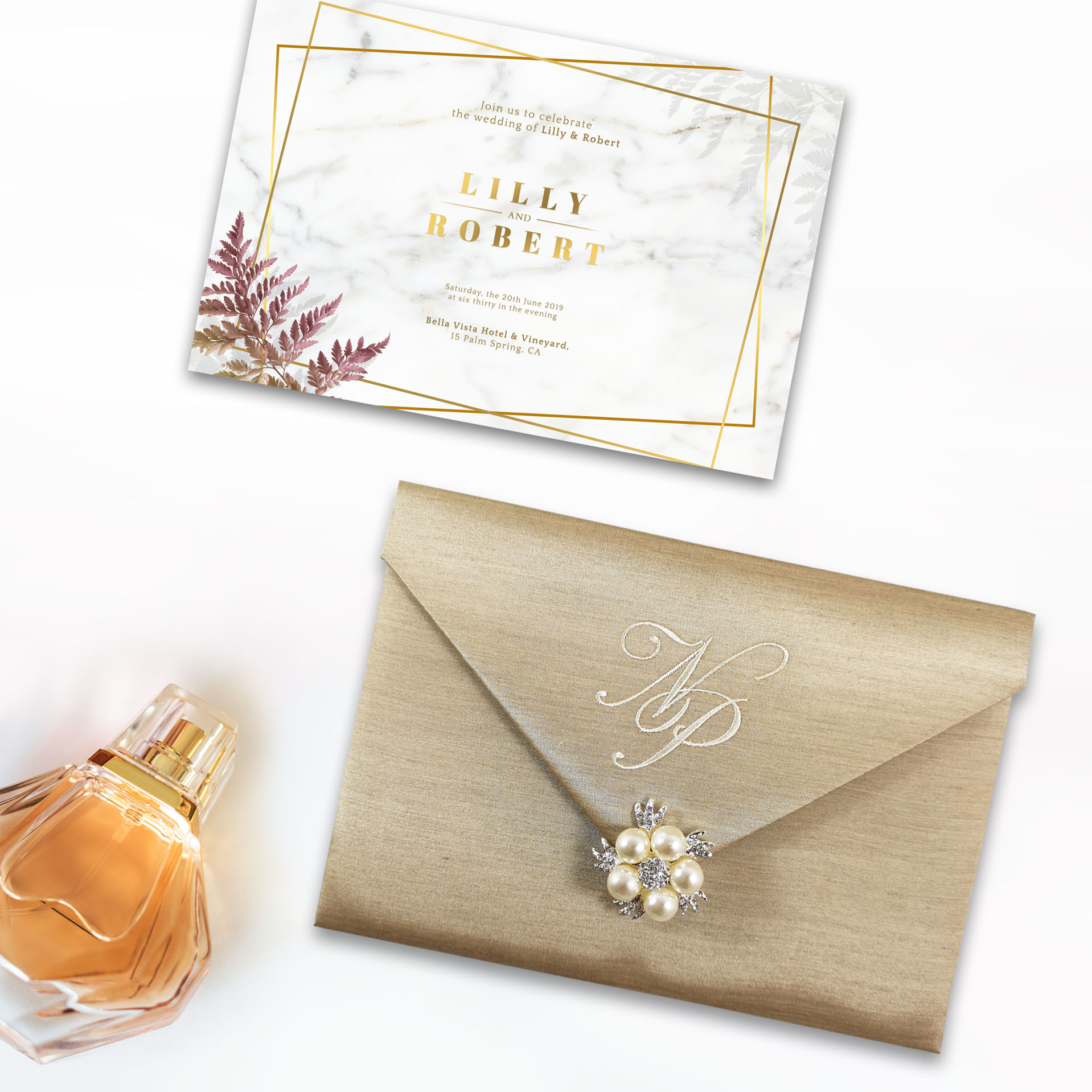 Champagne color monogram silk envelope for inviattion cards recently designed by Dennis Wisser