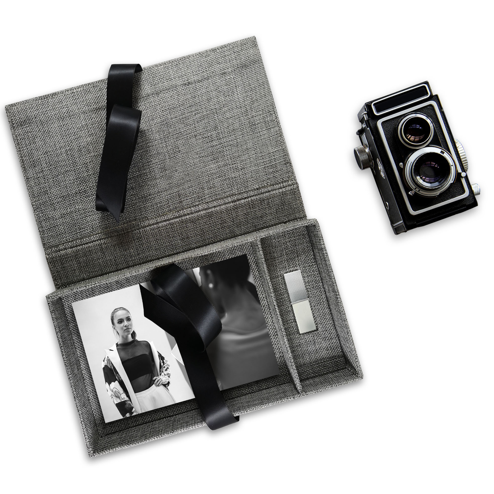 Grey & black linen USB photo box