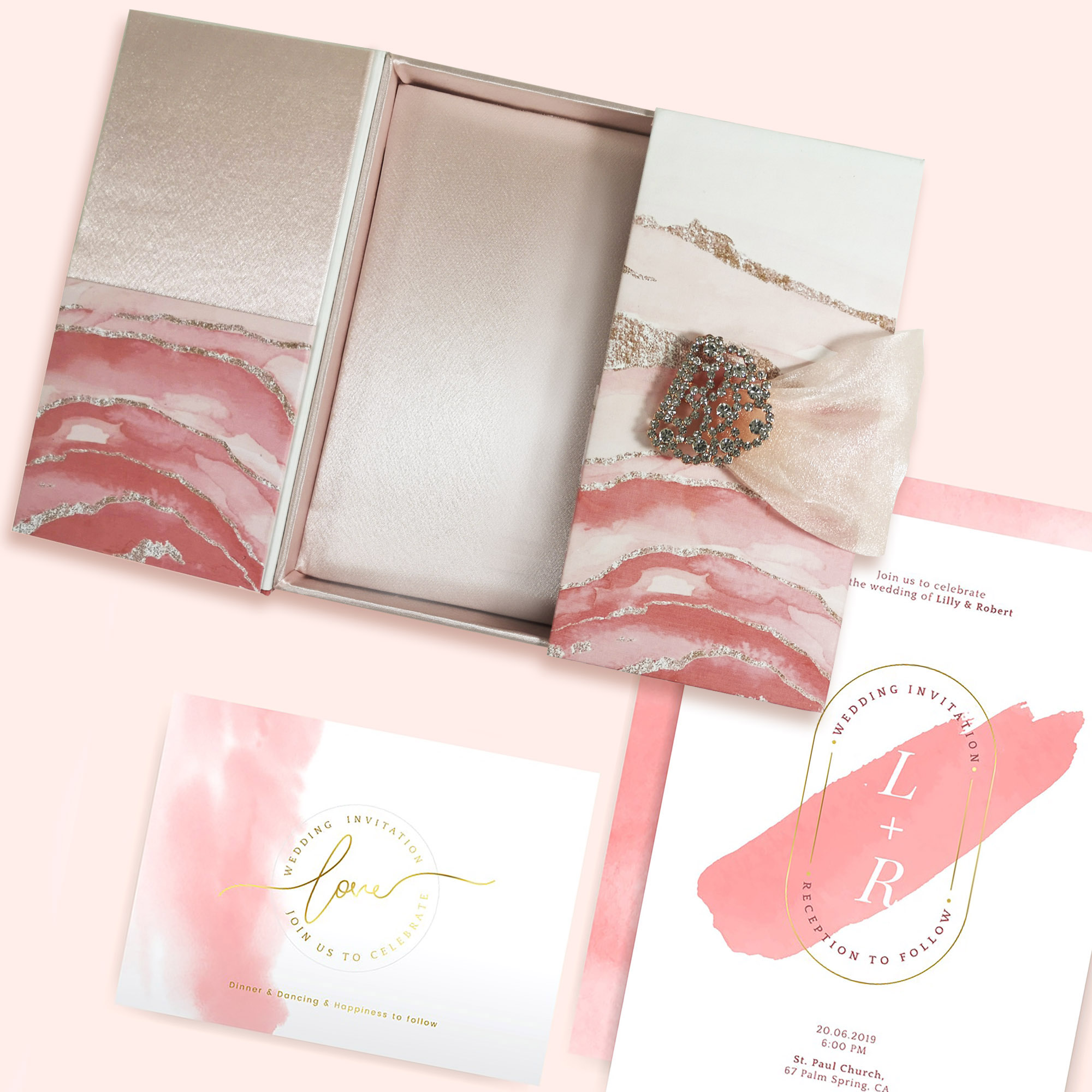 Luxury boxed wedding invitation set in blush pink